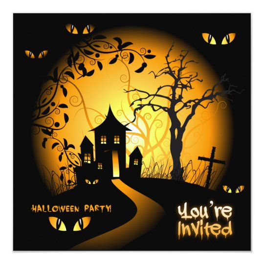 Spooky Eyes Haunted House Invitation