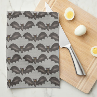 Spooky Flying Black Bats Bat Print Happy Halloween Tea Towel