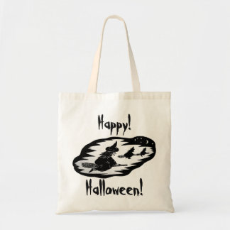 spooky flying witches on broomsticks halloween tote bag
