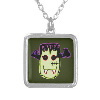 Spooky & Fun Vamp-N'-Stein Face Silver Plated Necklace