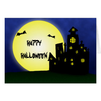 Spooky Funny Bats Castle Night | Happy Halloween Greeting Card