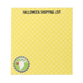 Spooky Ghost Halloween Shopping 5.5 x 6 Notepad