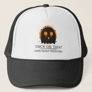 Spooky Ghost Trick or Treat. Add Family Name Trucker Hat