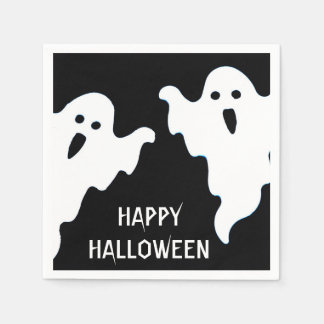 SPOOKY GHOSTS HALLOWEEN COCKTAIL NAPKINS DISPOSABLE SERVIETTES