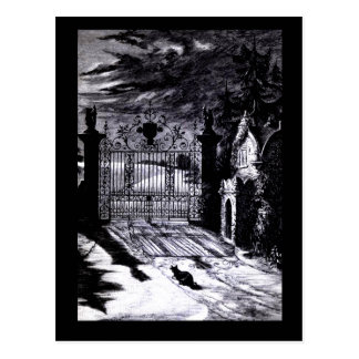 Spooky Graveyard Scene Halloween Card Post Cards