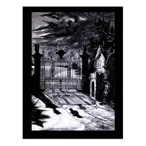 Spooky Graveyard Scene Halloween Card Post Cards