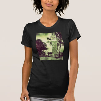 spooky green old fashion tower t-shirt ladies
