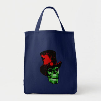 Spooky Green Skull with Top Hat Grocery Tote Bag