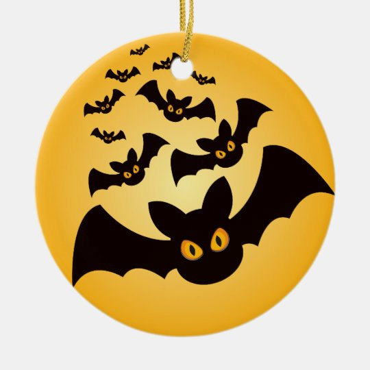 Spooky Halloween Bats Ceramic Ornament
