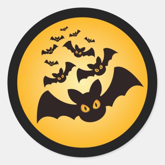 Spooky Halloween Bats Classic Round Sticker