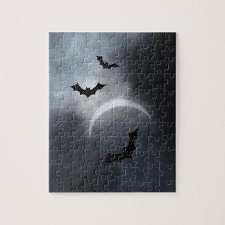 Spooky Halloween Bats In Eclipse Jigsaw Puzzle