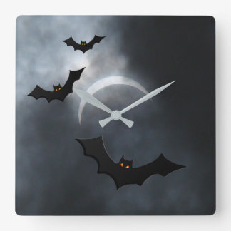 Spooky Halloween Bats In Eclipse Square Wall Clock