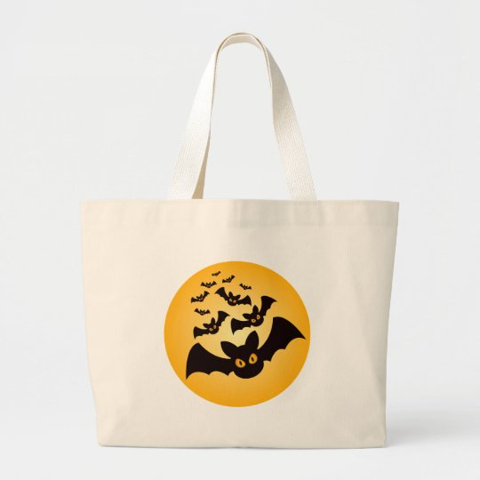 Spooky Halloween Bats Large Tote Bag