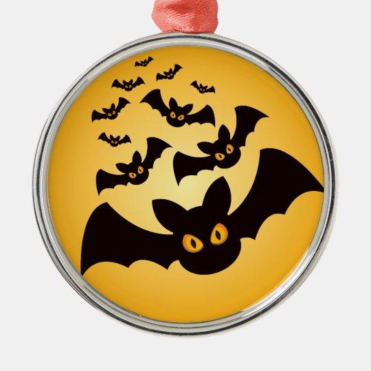 Spooky Halloween Bats Metal Ornament