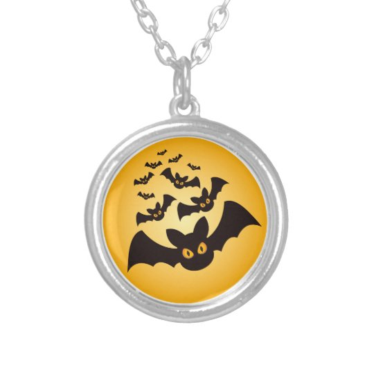 Spooky Halloween Bats Silver Plated Necklace