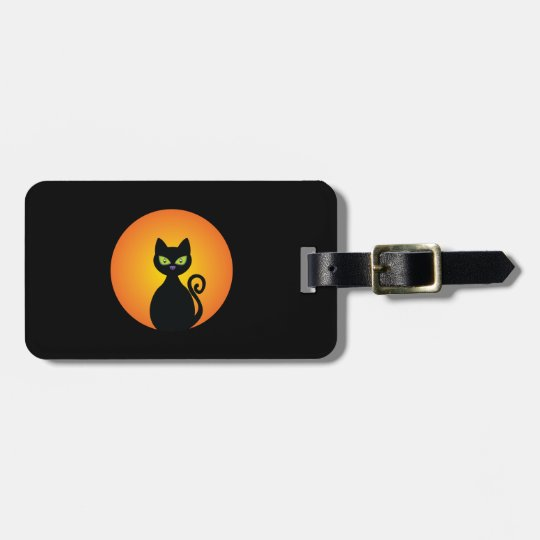 Spooky Halloween Black Cat Luggage Tag