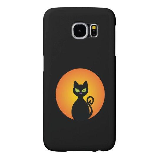 Spooky Halloween Black Cat Samsung Galaxy S6 Cases