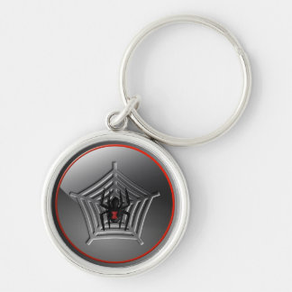 Spooky Halloween Black Widow Spider on a Web Key Ring
