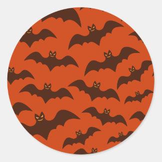 Spooky Halloween Brown Bats Pattern Classic Round Sticker
