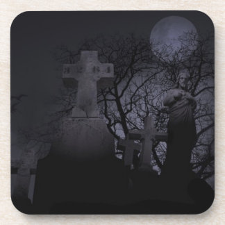 Spooky Halloween Graveyard Coasters