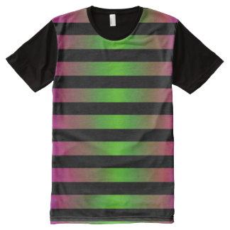 Spooky Halloween Green Purple Black Ombre Stripe All-Over Print T-Shirt