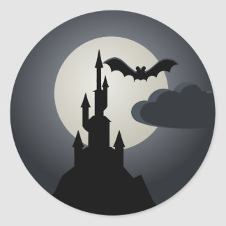 Spooky Halloween Haunted House on Hill Stickers