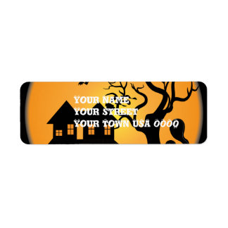 spooky halloween haunted house scene vector return address label