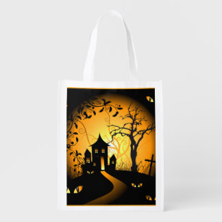 Spooky Halloween House on Moonlit Night Reusable Grocery Bag