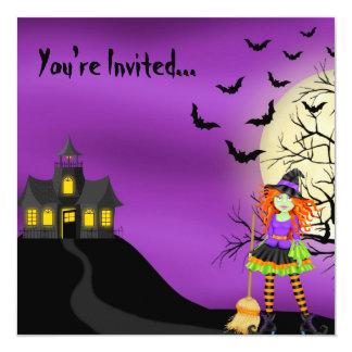 """Spooky Halloween Invitation 5.25"""" Square Invitation Card"""