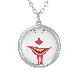 Spooky Halloween Makeup Silver Plated Necklace