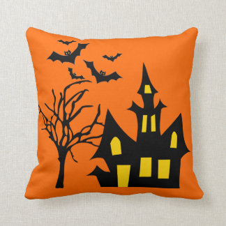 Spooky Halloween Night Lit Haunted House Tree Bats Throw Pillow