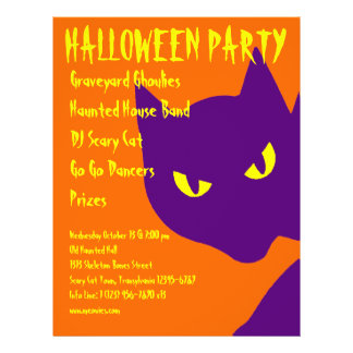 Spooky Halloween Party Kitty Cat Scary 21.5 Cm X 28 Cm Flyer