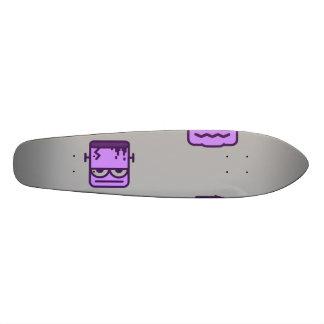 Spooky Halloween Pattern Violet on Grey 21.6 Cm Skateboard Deck