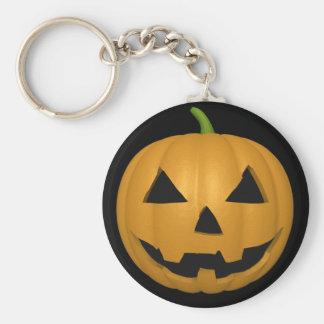 Spooky Halloween Pumpkin Button Keychain