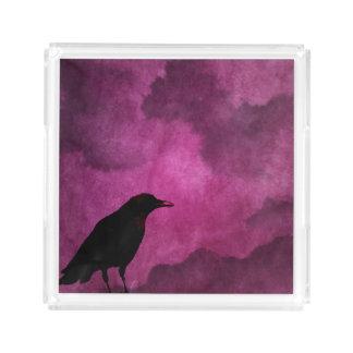 Spooky Halloween Raven Prints Acrylic Tray
