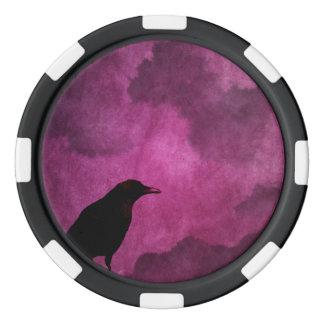 Spooky Halloween Raven Prints Poker Chip Set