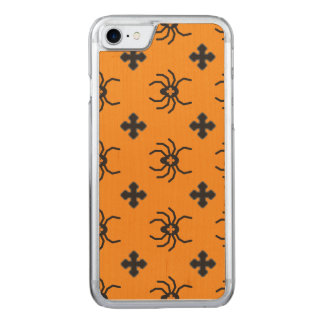Spooky Halloween Spiders Pattern on Yellow Carved iPhone 8/7 Case