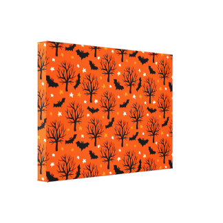 Spooky Halloween Tree with Bats and Stars Canvas Print