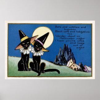 Spooky Halloween Vintage black cats decor poster