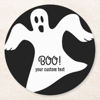 Spooky Halloween White Ghost Saying BOO! Round Paper Coaster