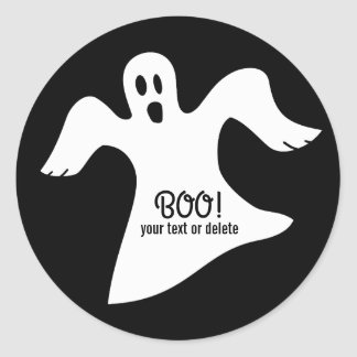Spooky Halloween White Ghost Saying BOO! Round Sticker