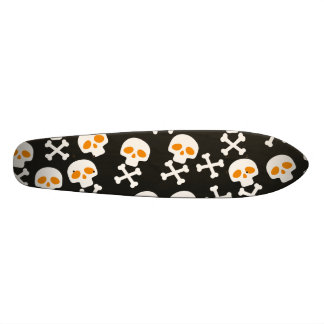 Spooky Halloween White Skulls Pattern on Black Skateboard Deck