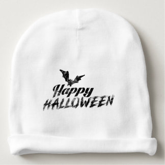 Spooky Happy Halloween and Boo Text with Bats Baby Beanie