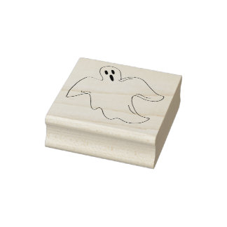 Spooky Happy Halloween Ghost Rubber Stamp