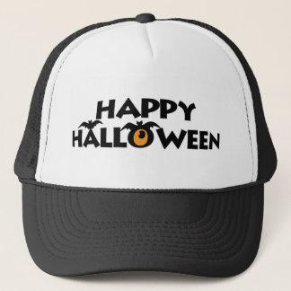 Spooky Happy Halloween Text with bats Trucker Hats