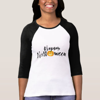 Spooky Happy Halloween Text with Pumpkin Custom T-Shirt