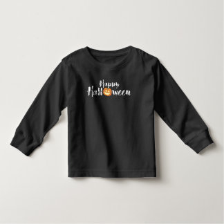 Spooky Happy Halloween Text with Pumpkin Custom Toddler T-Shirt