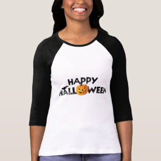 Spooky Happy Halloween Text with Pumpkin T-Shirt