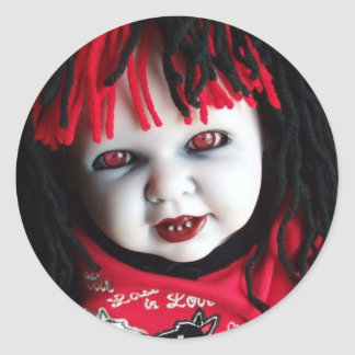 Spooky Haunted Doll Classic Round Sticker
