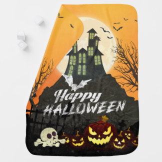 Spooky Haunted House Costume Night Sky Halloween Baby Blanket